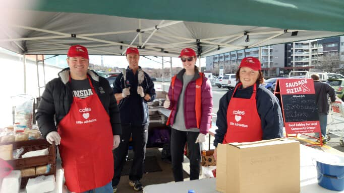 Volunteers BBQing at Bunnings, August 2019